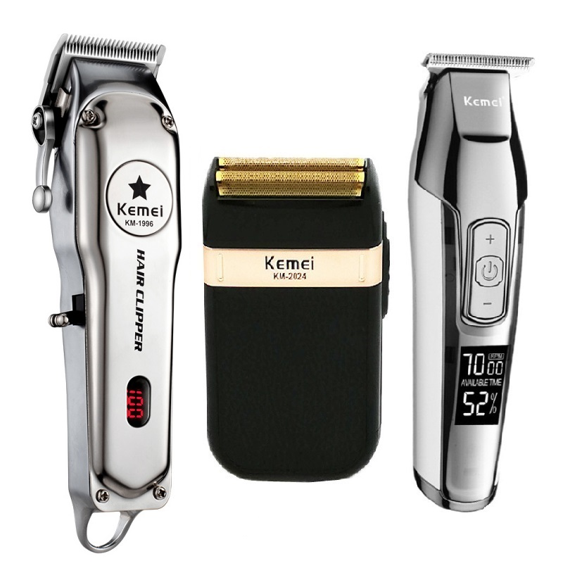 Kemei All Metal Professional Electric Hair Clipper Rechargeable Hair Trimmer Haircut Shaving Machine Kit KM-1996 KM-2024 KM-5027