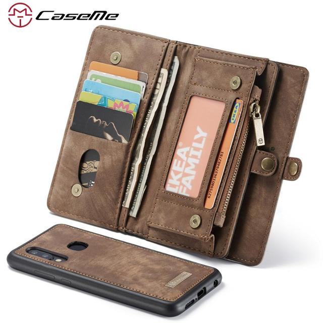 for Samsung Galaxy A20 A20E A30 A40 A50 A70 Wallet Case 2 in 1 Detachable Genuine Leather Magnetic Flip Cover Case