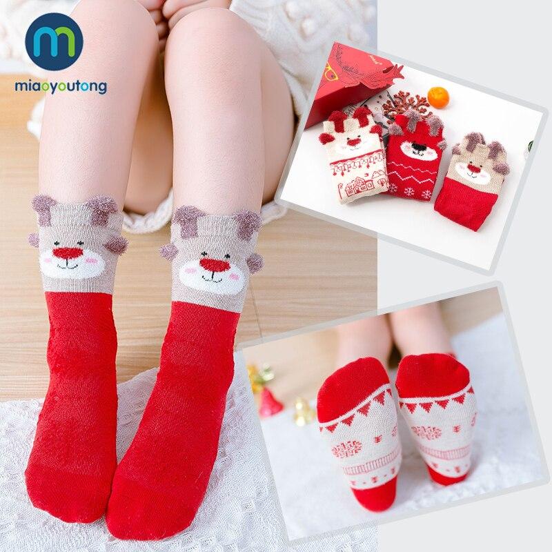 3 Pairs Gift Box Cartoon Cotton Christmas Socks Kids Boy Autumn Winter Warm Baby Girl Socks Children Meias Stuff Miaoyoutong 3