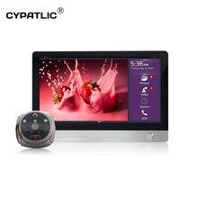 Câmera sem fio para segurança residencial, deurbelge com wi fi, câmera digital, olho mágico, visor de porta, com sensor de movimento