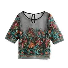 Женская прозрачная блузка, прозрачная сетчатая Цветочная вышивка, полурукава, прозрачная блузка 3XL 5XL, Женская туника, топы черного цвета