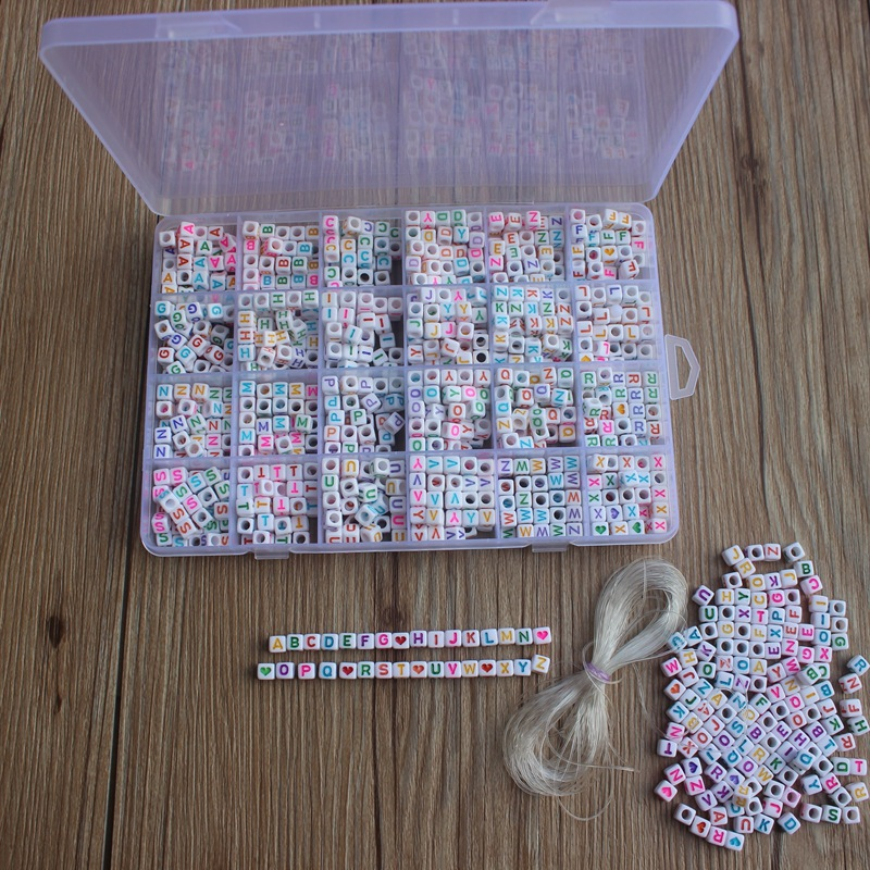 Beads-Set Necklace Bracelet Diy-Accessories Letter Jewelry Making Acrylic Plastic Alphabet