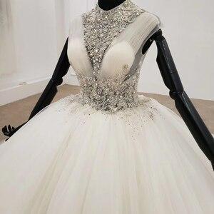 Image 4 - HTL1285 2020 kristall hochzeit kleid frauen ärmellose friesen high neck luxus weiß hochzeit kleid braut kleid neue