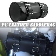 For Harley Sportster Chopper Bobber Cruiser Dyna Softail Saddlebag Leather Saddle Luggage PU Bags Front Fork Tool Bag toolbag