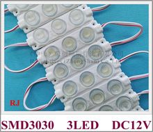 LED module with lens for lighting box beam angle vertically 15 horizontally 45 DC12V 75mm*20mm aluminum PCB SMD 3030 3 LED 3W