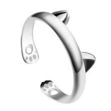 Mode Simple femelle anneau mignon Animal chat oreille chat empreinte forme ouverture réglable alliage bijoux cadeau vente directe