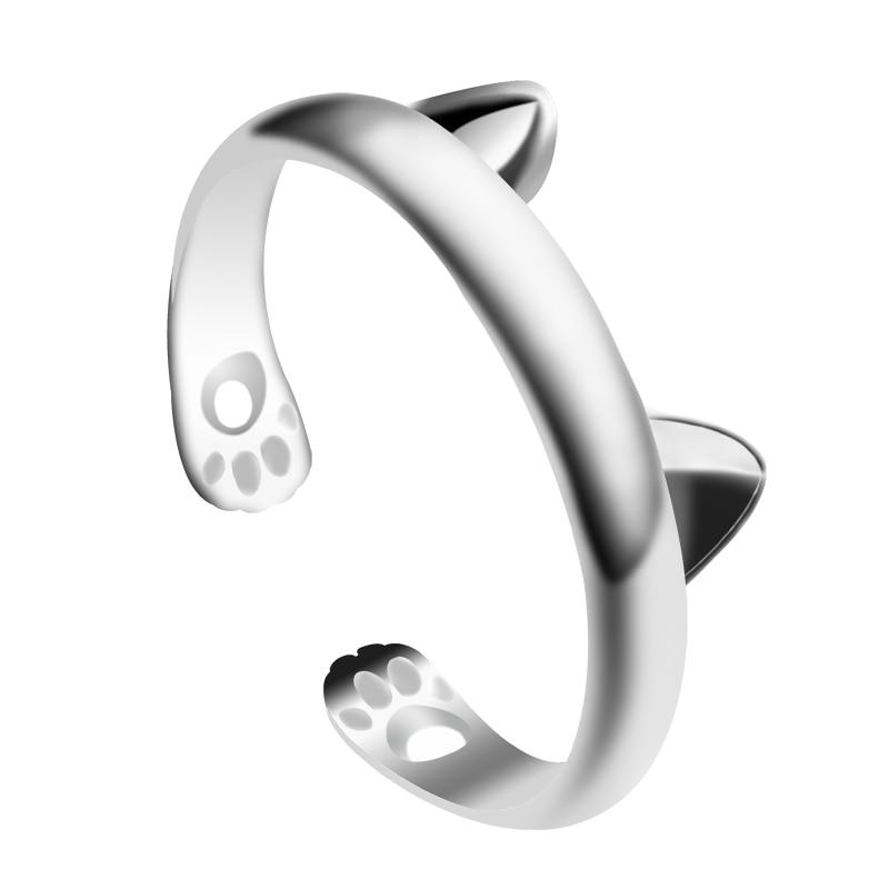 Lindo anillo diseño de Animal para mujer, forma de huella de gato de Oreja de Gato, apertura ajustable, joyería de aleación, regalo, venta directa
