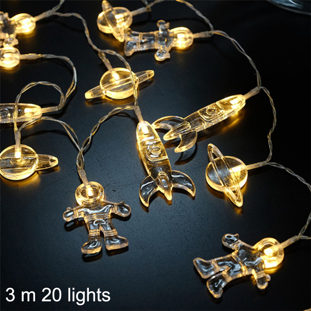 1.5 /3 M LED String Lights Outer Space Astronauts Spaceship Rocket Mars LED Night Light Baby Kids Bedroom Home Party Decor Lamp