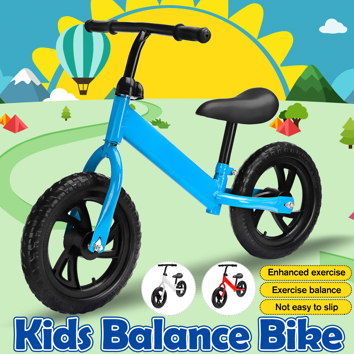 Carbon Steel Baby Training Bike Baby Balance Bike No Pedals Tricycle Riding Toys Baby Learning Walker Kids Bicycle No Handbrake
