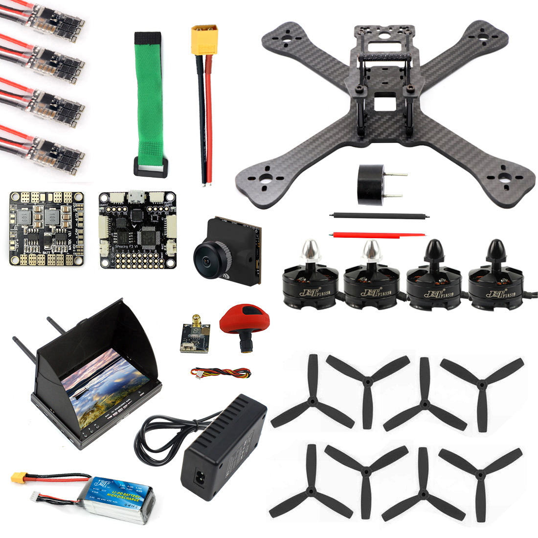 DIY TX5-210 210mm 2.4G RC Racing Drone Mini Quadcopter SP F3 Caddx Turbo S1 Night Version Camera 5.8G VTX FPV Monitor Goggles
