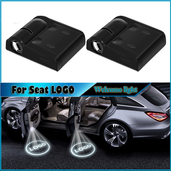 2pcs Car Accessories Wireless LED Auto Car Door Welcome Logo Light Laser Projector Ghost Lamp For Seat leon ibiza Car styling фото