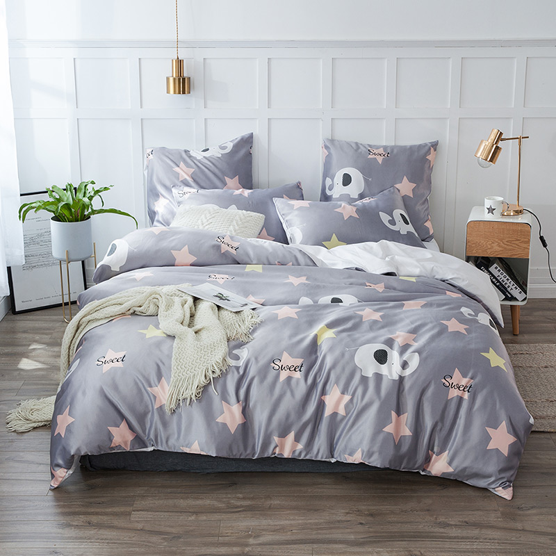 YAXINLAN Bedding Set Pure Color Silk Plant Flowers Fashion Patterns Bed Sheet Quilt Cover Pillowcase 4-7pcs New Product