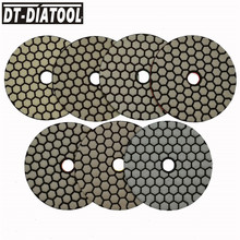 DT-DIATOOL 7pcs 100mm/4inch Grade A Dry Diamond Polishing Pads Resin Bond Sanding Discs For Marble Granite Stone Polisher Discs dt diatool 100mm 4 3 steps wet or dry premium high quality diamond polishing pads resin bond sanding discs for marble concrete