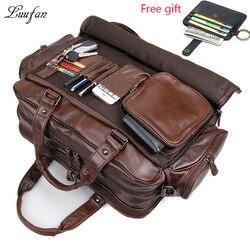 Porte-documents en cuir véritable pour hommes 16 grand sac fourre-tout en cuir véritable pour ordinateur portable sac d'affaires en cuir de vache double couche sac de messager