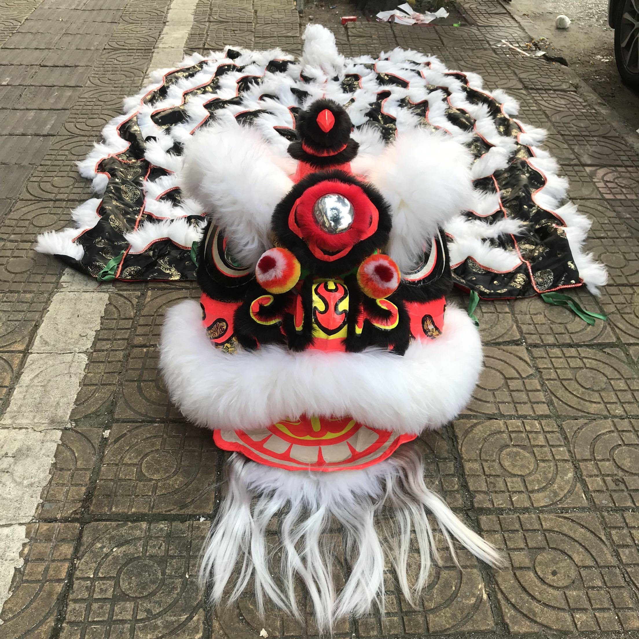 100% australien laine Lion danse mascotte Costume traditionnel chinois Lion danse déguisement tenue scène Performance accessoires