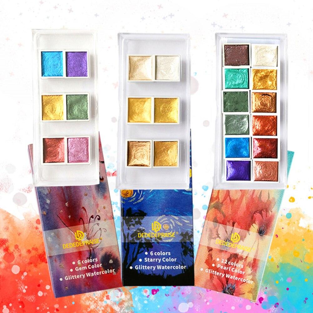 6 Colors Metallic Watercolor Paint Set Gold Paint Pearlescent Watercolor Pigment For Painting Art Supplies Mega Offer E2cb Cicig