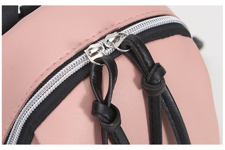 Casual Small Waterproof Backpack Women Solid Color Pu Leather School Bag Simple Mini Zipper Bookbags And Girls Travel Backpacks (6)
