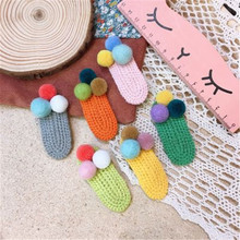Kids Children Girls Hair clips Thread Knitted Korean Cute Fall Winter Pompom BB Hairpins Solid Head wear Accessories-SWD-W7