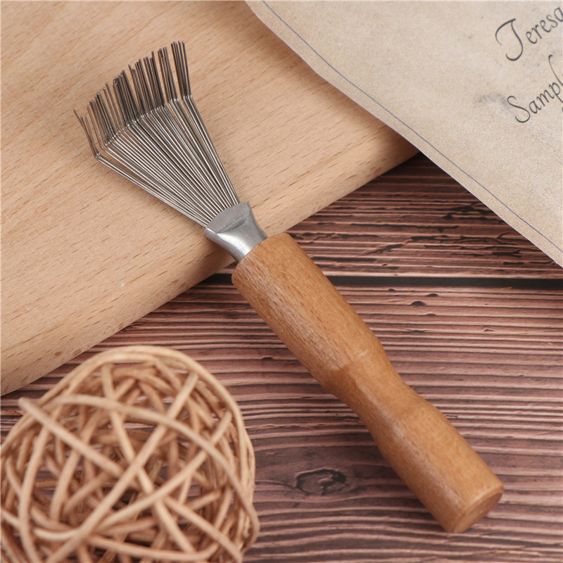 New Hair Brush Comb Cleaner Tool Wooden Delicate Cleaning Removable Handle