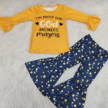 Outfit Pants Tops Bell-Bottomed Children-Sets Long-Sleeve Boutique Baby-Girls Fashionable