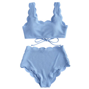 Women Scalloped Textured High Waist Bikini Set Solid Two Pieces Push Up Beach Bathing Suits Swimwear Lace Biquinis Bathing Suits