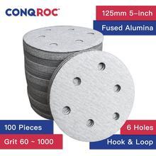 100 stück 125mm 5-zoll 6 Löcher Trockenen Schleifen Discs Haken und Schleife Aluminium Oxid Weiß Sand Papier discs
