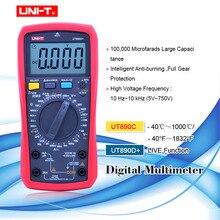 Multímetro digital ut890c ut890d + ac dc, multímetro digital, verdadeiro, faixa manual de capacitância da frequência, testador de temperatura, lcd luz de fundo
