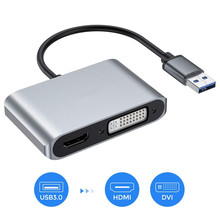 USB to HDMI DVI Adapter 3.0 Dual Converter 1080P, Support Sync Output for Windows 10/8/7