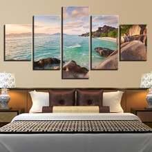5 шт остров летнее небо песок пляж пальмы камни картины на холсте