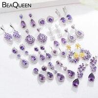 Pendientes largos de cristal púrpura con flores grandes románticas de BeaQueen para mujeres declaración corazón ovalado redondo cuadrado CZ joyería de oreja E294