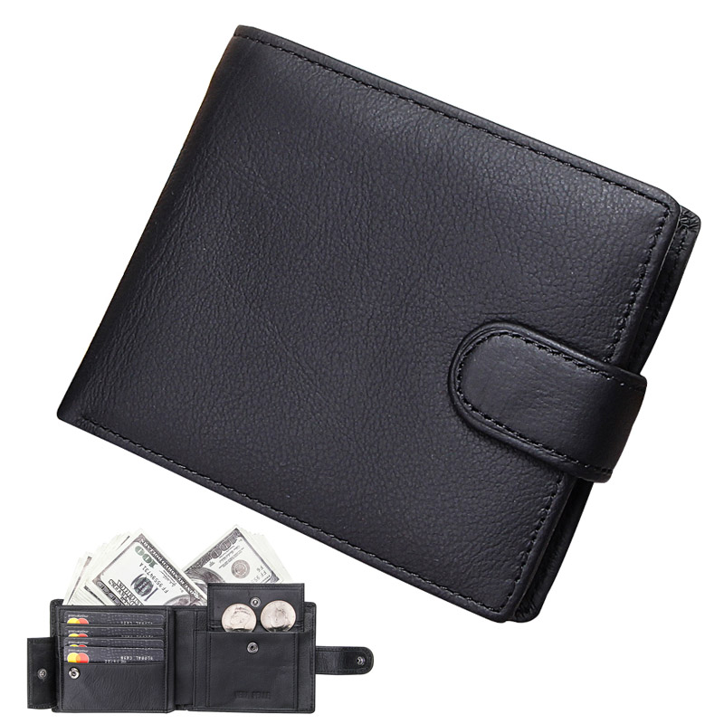 Mens Wallet Genuine Leather Wallets Men Brief Design Business Slim Credit Card Holders Hasp Clutch Purse With Coin Pocket Male
