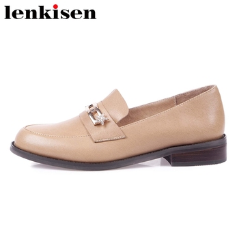 Lenkisen large size full grain leather round toe med heel shoes women chain star rhineston deep mouth slip on leisure pumps L12