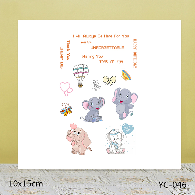 AZSG Cute elephant Trees Clear Stamps For DIY Scrapbooking Rubber Stamp/ Seal Paper Craft Stamp Card Making