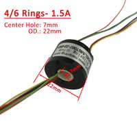 4/6 Channels/ Rings slipring with hole Dia.7mm 1.5A electric Slip Ring Hollow shaft