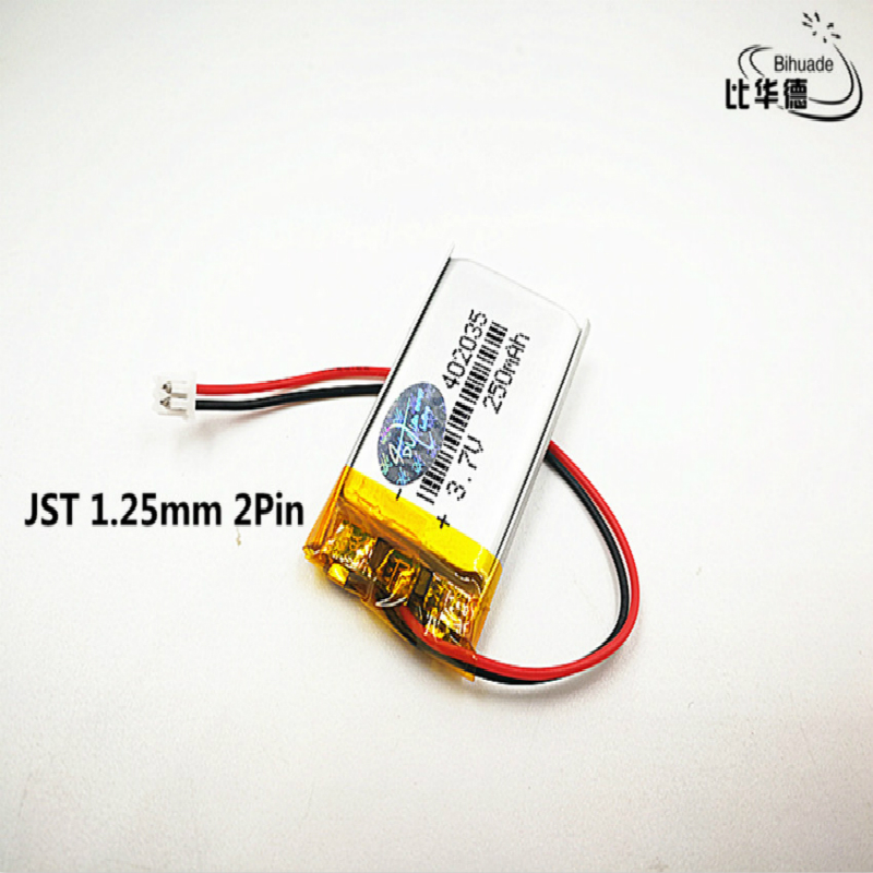 1pcs JST 1.25mm customized Good Qulity 3.7V,250mAH,<font><b>402035</b></font> Polymer lithium ion / Li-ion <font><b>battery</b></font> for TOY,POWER BANK,GPS,mp3,mp4 image