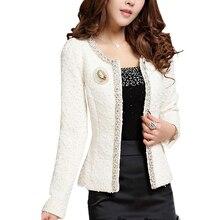 Women Spring Winter Coat Short design Elegant Beaded Diamond slim Long sleeve New 2020 Plus size Sma