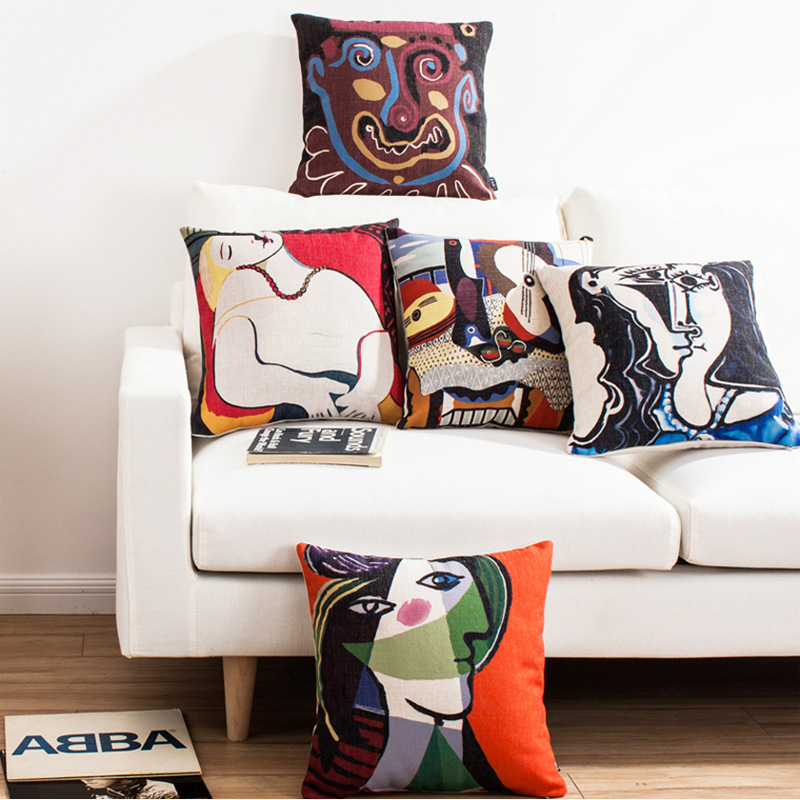 Decorative Throw Pillow Cushion Cover Picasso Painting Painted Cotton Linen Cushion Cover For Sofa Home Car