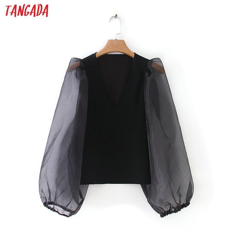 Tangada femmes extensible noir blouse style court mode maille patchwork transparent manches longues chemises femme chic hauts XZH152