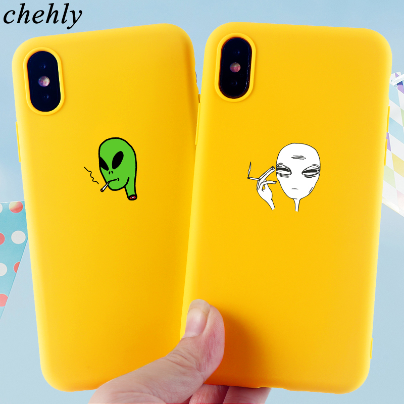 Fashion Cool Alien Phone Case for iPhone X XR XS Max 8 7 6s Plus Anime Cases Soft Silicone Fitted Mobile Phone Accessories Cover in Fitted Cases from Cellphones Telecommunications