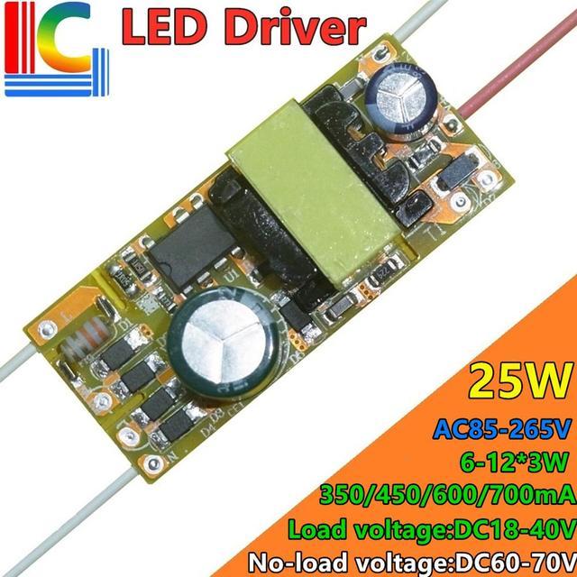 18W 20W 22W 24W Led Driver 300mA 350mA 400mA 500mA 550mA 650mA 700mA Power Supply 85 265VAC to 30 80VDC Lighting Transformer DIY