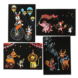 4PC Magic Color Rainbow Scratch Art Paper Card Set with Graffiti Stencil for Drawing Stick DIY Art Painting Toy for Children GYH