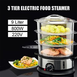9L 3 Tiers Electric Food Steamer Timing Home Food Steamer Kitchen Fish Cooking Machine Vegetable Pot Cooker Tools 220V 800W