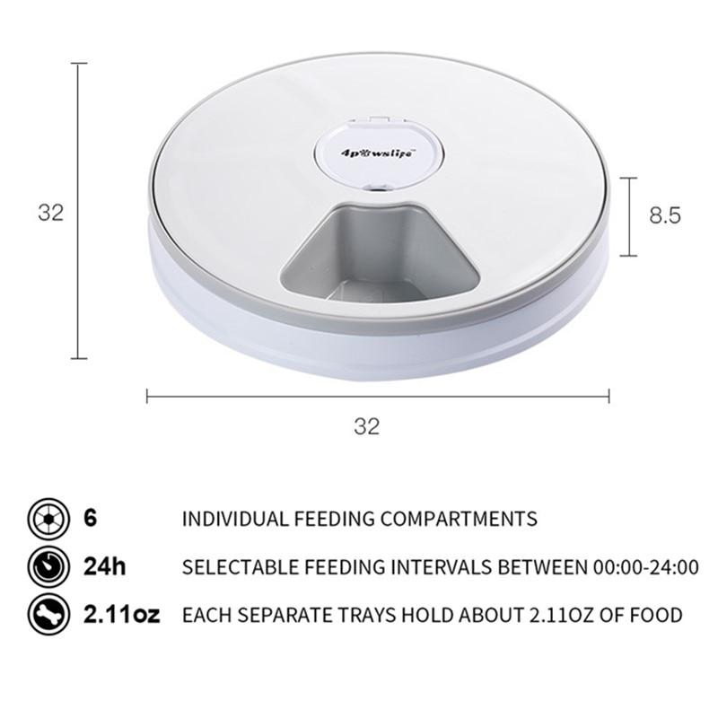 Alimentador de distribuição redonda alimentador automático para animais de estimação 6 refeições 6 grades gato cão elétrico dispensador de alimentos secos 24 horas alimentação para animais de estimação suprimentos 40% de desconto 2
