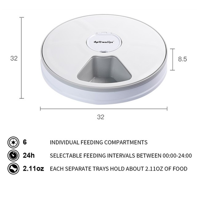 Round Timing Automatic Dry Food Dispenser For Cats & Dogs - 24 Hours Feed Pet Supplies 2