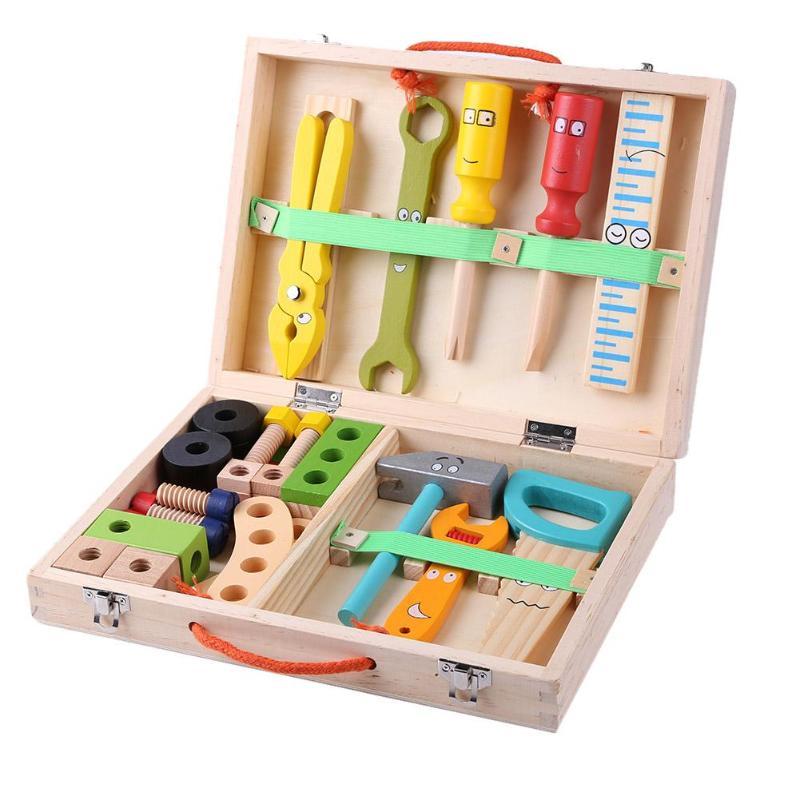 Kids Baby Wood Repair Set Tool Multifunctional Toys Portable Repair Tool Box Cartoon Boy Educational Toys For Boy Puzzle Toy