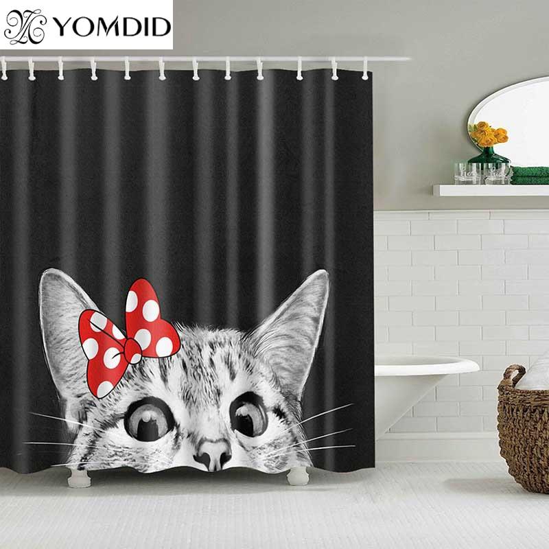 Cute Cat 3D Printed Shower Curtain Cartoon Animal Polyester Fabric Bath Curtain for Bathroom Curtain Decoration Shower Curtains|Shower Curtains| |  - title=