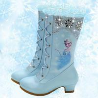 Fashion Princess Boots For Girls Pu Leather Kids Snow Boots Winter Warm Shoes With Fur Girls Lovely Elsa Princess Shoes