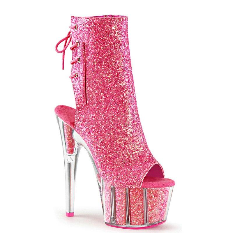 15 ซม.รองเท้าส้นสูง,เจ้าสาวงานแต่งงานรองเท้า,รอบ toed sequined ด้านบน stage ข้อเท้า-ใน รองเท้าบูทหุ้มข้อ จาก รองเท้า บน   1