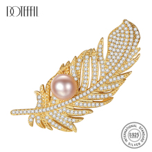 DOTEFFIL 925 Silver Brooch for Women Inlaid Zircon Pearl feather Shaped Brooch Women Accessories Brooches Luxury Jewelry Party cmajor flower shaped brooch with pearl jewelry silver gold color brooches for women