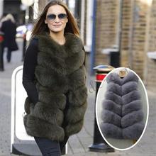 Inverno bigsale mulheres real pele de raposa colete natural couro genuíno pele de raposa longo colete real pele de raposa gilets